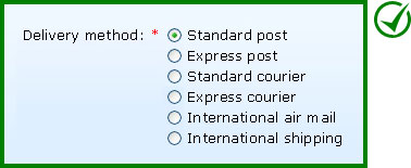 Recommended implementation: Six options are displayed using radio buttons.