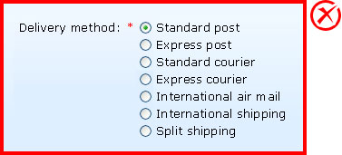 Not recommended: Seven options are displayed using radio buttons.